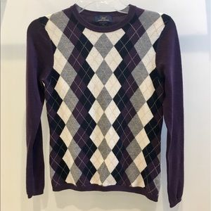 ⭐️ Brooks Brothers Purple Argyle Wool Sweater